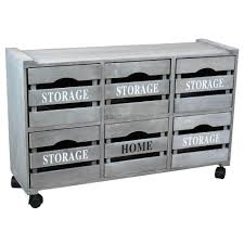 Vintiquewise 3225 In W X 1838 Rustic Gray Cabinet Storage Chest With 6