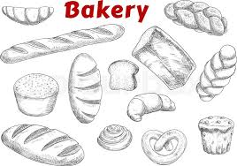Bakery And Pastry Products Sketches With Raisins Muffin Cinnamon Roll French Croissants Baguette Pretzel Braided Sweet Buns Loaves Of Wheat