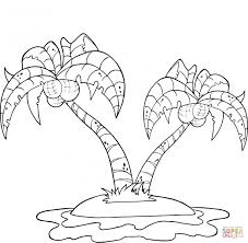 Trees Leaves Coloring Pages Coconut Palm On Island Pictures Of To Color For Kids Plants