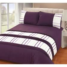 Bed Cover Sets by Just Contempo Modern Striped Duvet Cover Set Double Purple