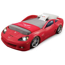 step2 corvette convertible toddler to twin bed with lights red