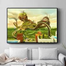 surreal stadt schach strand set wand kunst leinwand malerei poster drucke bilder für wohnzimmer dekoration home öl gemälde decor
