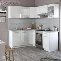 vicco küche rick l form küchenzeile küchenblock einbauküche 167x187cm weiß hochglanz