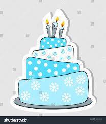 Blue Birthday Cake Label Drop Shadow Stock Vector