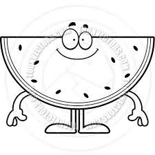 Cartoon Watermelon Happy Black and White Line Art