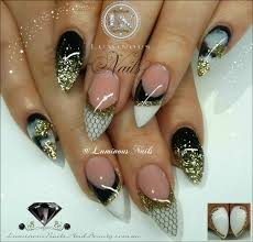 luminous nails black white u0026 gold nails with netting nail