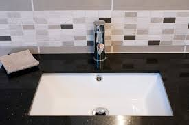 Small Undermount Bathroom Sinks Canada by Subway Ceramic Backsplash Tile Black Granite Countertop Stainless