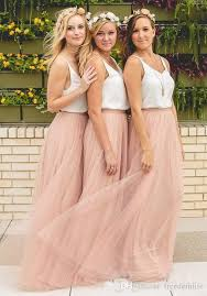 Elegant Cheap Long Country Bridesmaid Dresses Two Pieces Blush Tulle