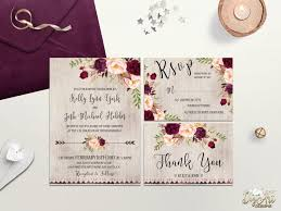 Rustic Wedding Invitation Printable Boho Invite Burgundy Blush Suite Floral Bohemian DIY