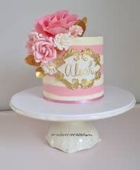 Pink White And Gold Birthday Decorations by White And Pink Buttercream Striped Cake With A Hand Painted Name