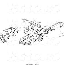 Vector Of A Cartoon Fishing Boy Reeling In Fish
