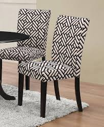 2 Dorsett Gray Black White Geometric Pattern Fabric Dining Chairs ...