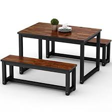 LITTLE TREE Dining Table Set With Two Benches 3 Piece Rustic Rectangular