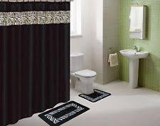 Leopard And Red Bathroom Decor by Black Bathroom Set Ebay