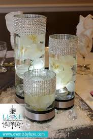 Black White And Silver Wedding Decor Cylinder Centerpieces With Submerged Orchid Led Lights