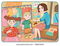 Mother With Children In The Childrens Clothing Store