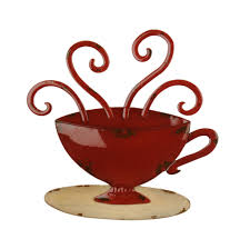 Red Coffee Mug Metal Plaque