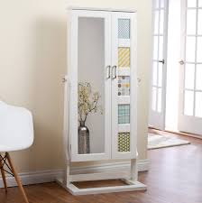 White Wooden Full Length Mirror Jewelry Armoire With Chic Chair ... Mini Jewelry Armoire Abolishrmcom Best Ideas Of Standing Full Length Mirror Jewelry Armoire Plans Photo Collection Diy Crowdbuild For Fniture Cheval Floor With Storage Minimalist Bedroom With For Decor Svozcom Over The Door Medicine Cabinet Outstanding View In Cheap Mirrored Home Designing Wall Mount Wooden