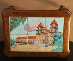 vintage early calif monterrey santa barbara mission tile