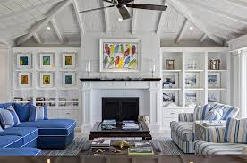 View In Gallery Beach Style Living Room With Multi Colored Wall Art