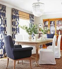 Blue IKAT Curtains White Duralee Kilim Drapes