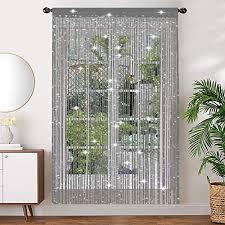aizesi 2 stück scheibengardinen modern kinderzimmer küche fenster vorhang gardine 90x200 fadenvorhang silber mit insektenschutz für schlafzimmer