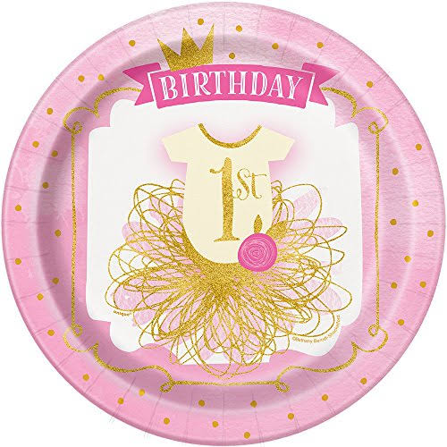 "Unique Girls First Birthday Party Plates - Pink and Gold, 9"", 8ct"