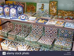 display of tiles inside santa ceramic tile shop in triana