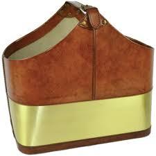 100 Interiors Online Magazine Leather Basket Tan INTERIORS ONLINE