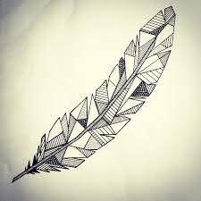 Little Try Of A Geometric Feather For Friends Tattoo
