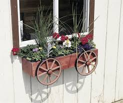 Amish Wagon Wheel Rustic Window Box Planter