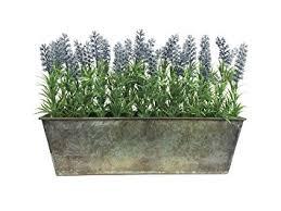 Artificial Lavender In Rustic Tin Planter Window Box 45cm