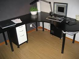 furniture stylish black wooden corner desk with white drawers