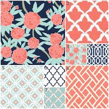 Coral And Navy Baby Bedding by Crib Bedding Peony Mint Coral And Navy Custom Crib Set