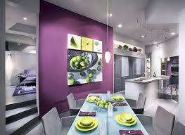 Modern Dining Room With Purple Accent Wall And Gray Paint