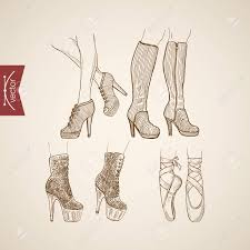 Engraving Vintage Hand Drawn High Heeled Boots And Ballet Shoes Doodle Collage Pencil Sketch Retro