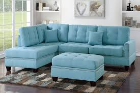 Poundex 3pc Sectional Sofa Set by Poundex F6505 Blue Polyfiber 3pc Reversible Chaise Sectional Sofa