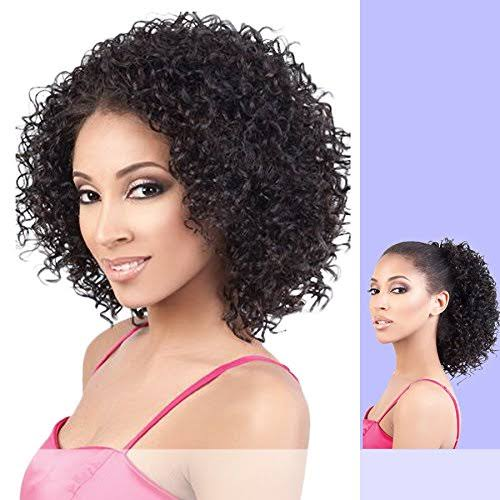 Motown Tress - TIO-121 - Heat Resistant Fiber Half Wig & Ponytail in Darkest Brown