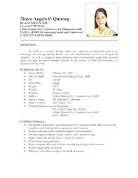 Resume Samples Philippines Inspirational Simple Nurse Format Within Sample Filipino 311