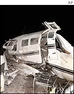 The Wreckage Of Aircraft In Which Nine Died
