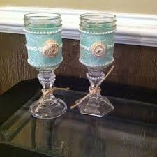 Shabby Chic Glasses Or Candle Holders Rustic Wine GlassesMason