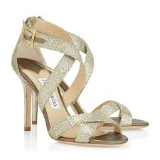 Champagne Glitter Fabric Sandals 24 7 Collection