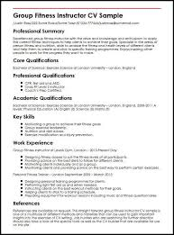Group Fitness Instructor Cv Sample Myperfectcv Rh Co Uk Manager Resume Template