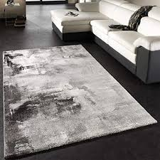 paco home teppich modern designer teppich leinwand optik grau schwarz weiss meliert grösse 120x170 cm