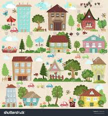 100 Houses F Collection Cute Trees You Design Stock Vector