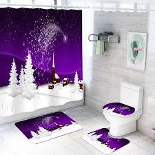 weihnachten dusche vorhang mit haken weihnachten baum schnee nicht slip teppiche wc deckel abdeckung und bad matte für bad weihnachten dekoration