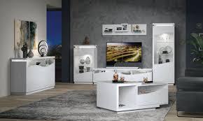 wohnzimmermöbel wohnzimmer komplett set b patamea 6 teilig farbe weiß hochglanz