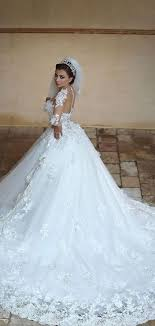 2015 New Beautiful Sheer Long Sleeves Wedding Dress 2016 Lace Appliques Ball Gown Train Bridal Gowns Casamento