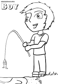 Boy Coloring Sheet With A Fishing Rod