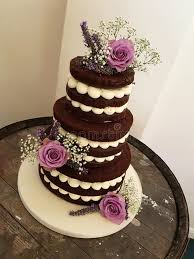 Download 3 Tier Chocolate Naked Cake With Fresh Flowers Stock Image
